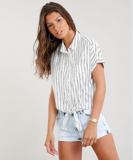 9408137178 Camisa Feminina Cropped Estampada de Poá com Nó Manga Curta Off ...