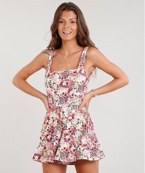 b2f164ef1 Macaquinho Feminino Curto Decote Reto Estampado Floral Off White - cea
