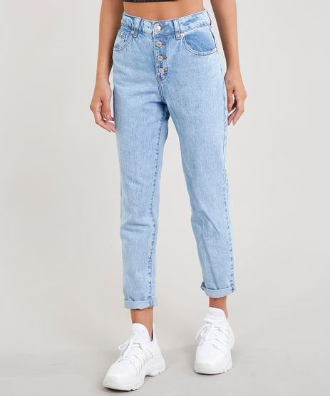 Calca-Jeans-Feminina-Mom-com-Botoes-Azul-Claro-9458557-Azul_Claro_1