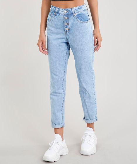 c3b0ed28c Calça Jeans Feminina Mom com Botões Azul Claro - cea