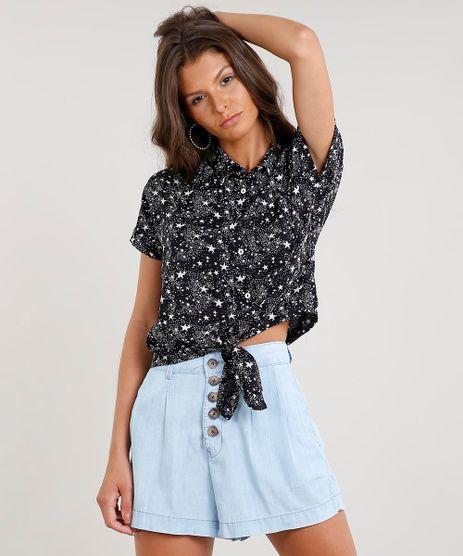 Camisa-Feminina-Cropped-Estampada-de-Estrelas-com-No-Manga-Curta-Preta-9369571-Preto_1