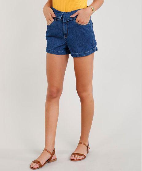 Short-Jeans-Feminino-Mom-com-Cos-Virado-e-Cinto-Azul-Escuro-9453690-Azul_Escuro_1