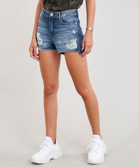 Short-Jeans-Feminino-Vintage-Destroyed-com-Barra-Desfiada-Azul-Escuro-9446370-Azul_Escuro_1