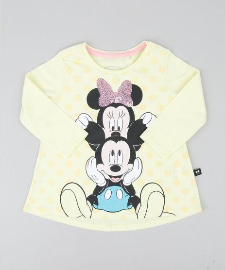 Blusa-Infantil-Minnie-e-Mickey-com-Paete-Manga-Longa-Decote-Redondo-Amarela-Claro-9421795-Amarelo_Claro_1