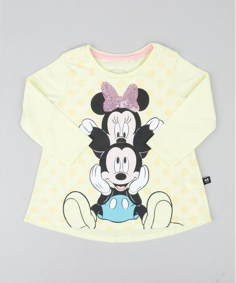 Blusa Infantil Minnie e Mickey com Paetê Manga Longa Decote Redondo ... c85d874175c