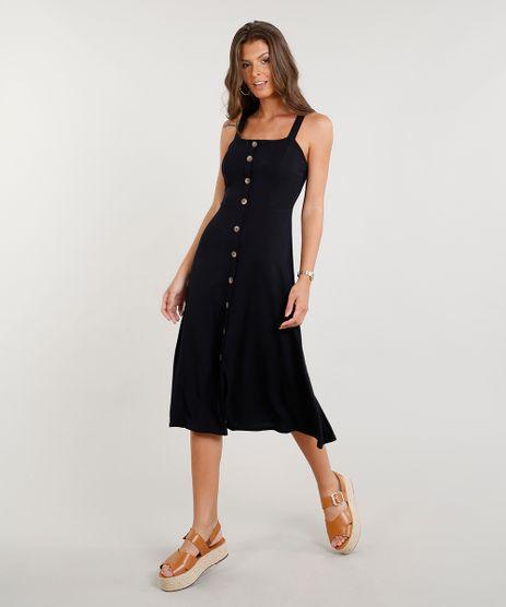 Vestido-Midi-Feminino-com-Botoes-Preto-9422400-Preto_1