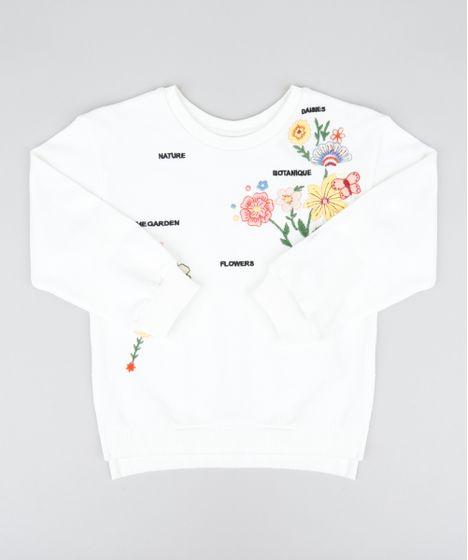 f38290222545e Blusão Infantil em Moletom com Bordado Floral Manga Longa Off White ...
