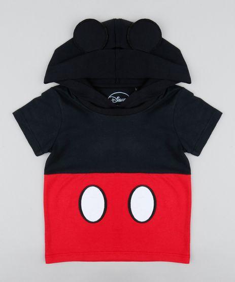 d78cc091a3 Camiseta-Infantil-Carnaval-Mickey-com-Capuz-e-Orelhinhas-