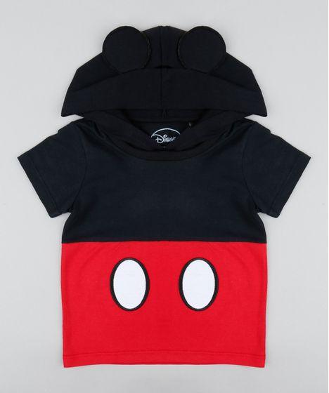 bf64e9b9a8 Camiseta Infantil Carnaval Mickey com Capuz e Orelhinhas Manga Curta ...