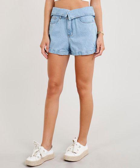 Short-Jeans-Feminino-Mom-com-Cos-Virado-e-Cinto-Azul-Claro-9453689-Azul_Claro_1
