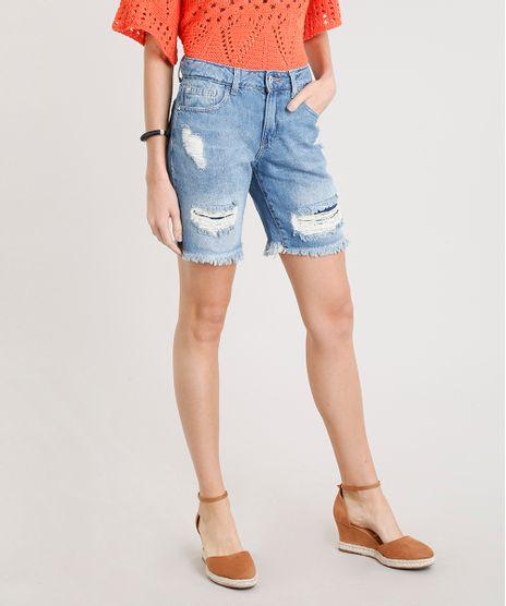 Bermuda-Jeans-Feminina-Destroyed-com-Barra-Desfiada-Azul-Medio-9346393-Azul_Medio_1