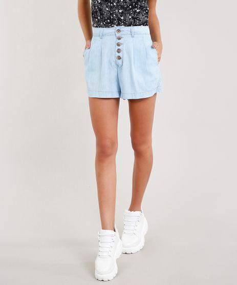 Short-Jeans-Feminino-Cintura-Alta-com-Botoes-Azul-Claro-9458553-Azul_Claro_1