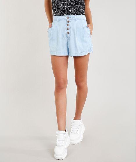 00ffe93e4 Short Jeans Feminino Cintura Alta com Botões Azul Claro - cea
