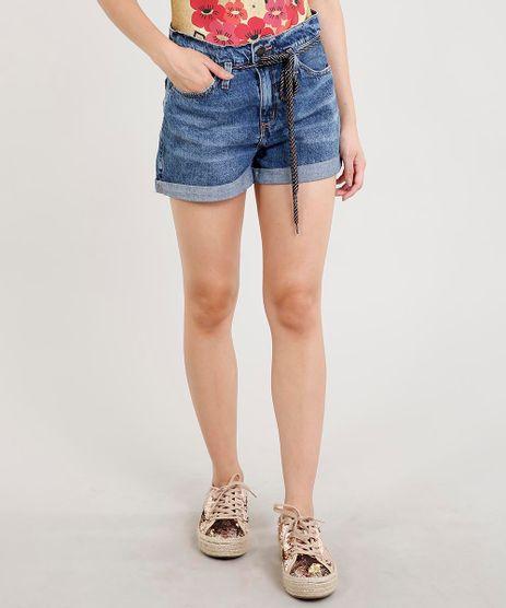 Short-Jeans-Feminino-Mom-Cintura-Alta-com-Cadarco-Colorido-Azul-Escuro-9458565-Azul_Escuro_1