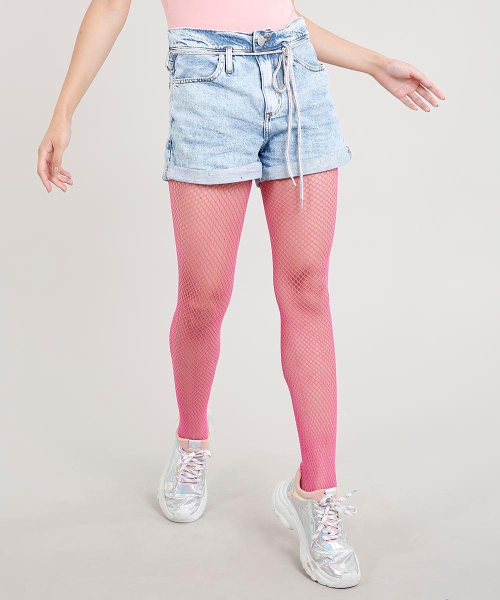 77a586a8154cd Short Jeans Feminino Mom Carnaval Cintura Alta com Cadarço Colorido ...