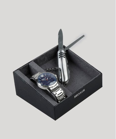 02ae0ddbc Kit-de-Relogio-Analogico-Seculus-Masculino---Canivete- ...