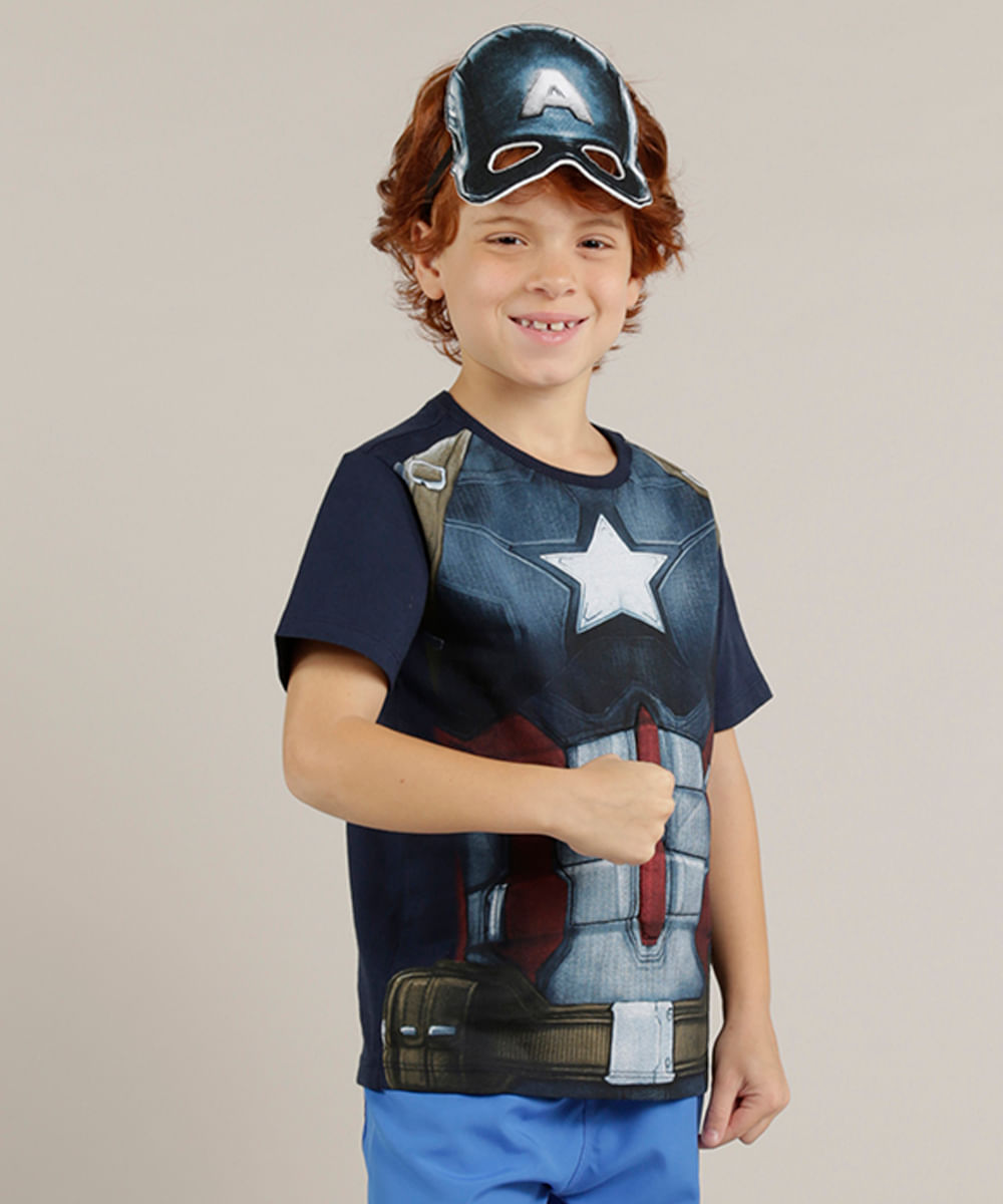 Camiseta Infantil Capitão América + Máscara Manga Curta Gola Careca ... 3bc38d0519