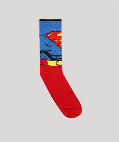 Meia-Masculina-Cano-Alto-Divertida-Super-Homem-Vermelha-9468290-Vermelho_1
