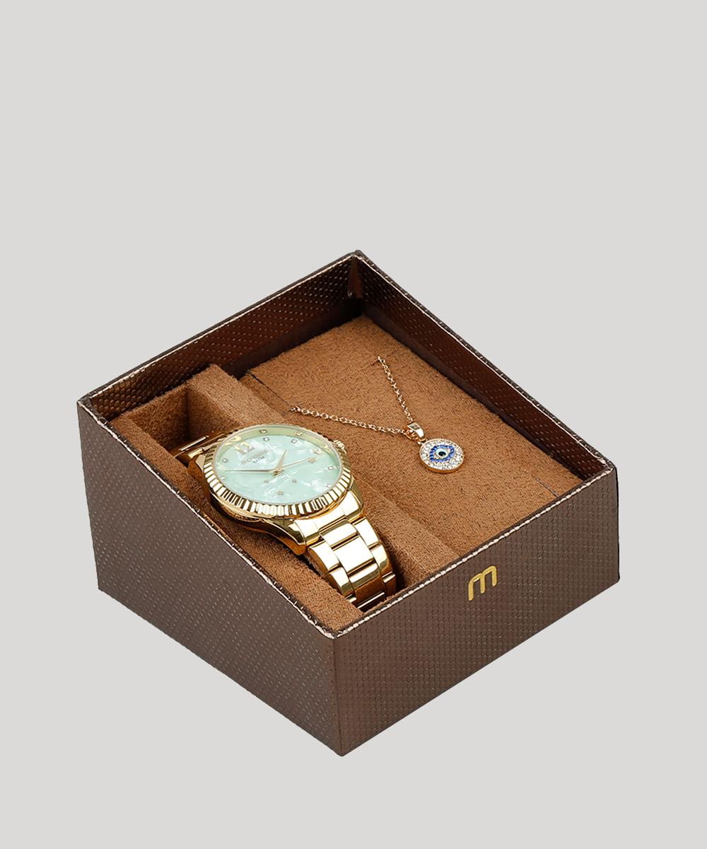 26c0df55c71 Kit de Relógio Analógico Mondaine Feminino + Colar - 99128LPMKDE1K2 Dourado  - Único - Mondaine -