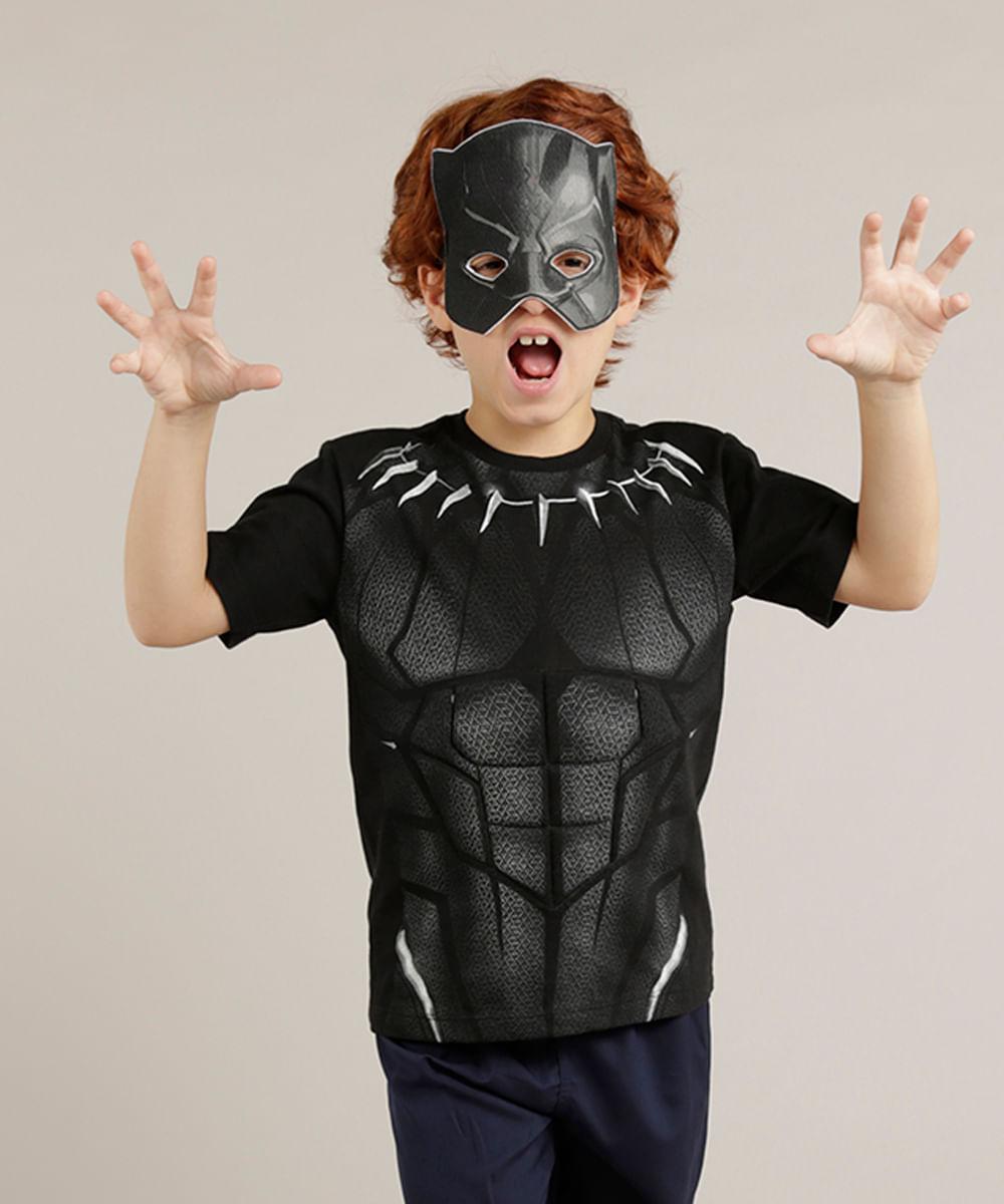 42cfdaec0 Camiseta Infantil Pantera Negra + Máscara Manga Curta Gola Careca Preta