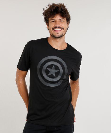 Camiseta Masculina Capitão América Manga Curta Gola Careca Preta - cea 28a38f88d88ba