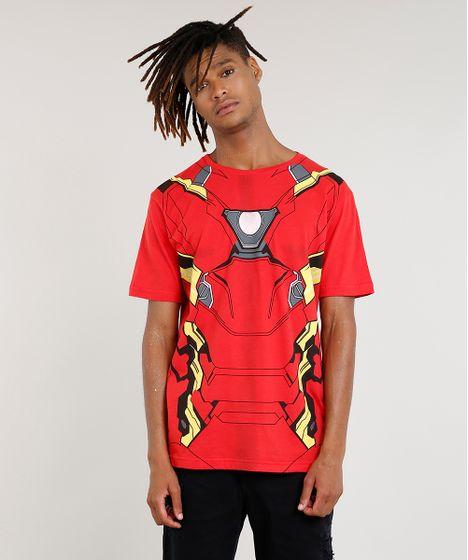 dd1cb6928e Camiseta Masculina Homem de Ferro Manga Curta Vermelha - cea