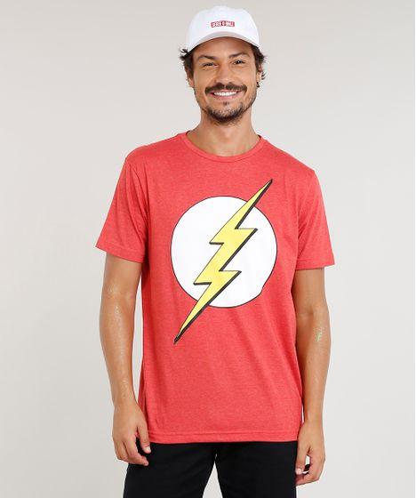 59b5ac942e Camiseta Masculina The Flash Manga Curta Gola Careca Vermelha - cea
