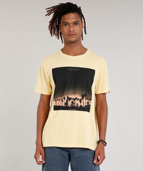Camiseta-Masculina-com-Estampa-de-Coqueiros-Manga-Curta-Gola-Careca-Amarela-9419885-Amarelo_1