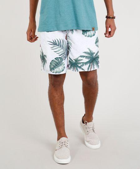 Short Masculino Estampado de Folhagem com Bolsos Branco 4d4dcbf8d6c37