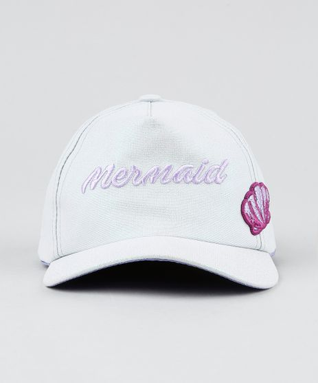 Bone-Infantil--Mermaid--com-Brilho-e-Bordado-Aba-Curva-Prateado-9441481-Prateado_1