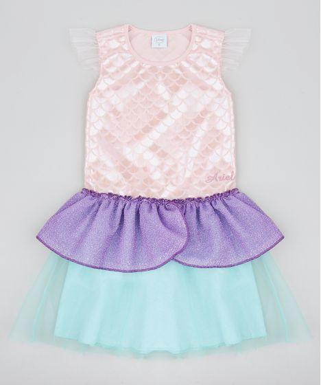 b3f965e7e59684 Vestido Infantil Carnaval Ariel Pequena Sereia Metalizado com Tule Rosê