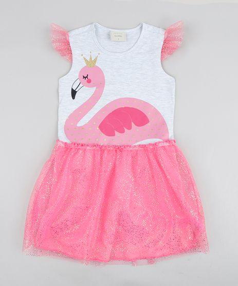 Vestido-Infantil-Carnaval-Flamingo-com-Tule-Cinza-Mescla-9439085-Cinza_Mescla_1