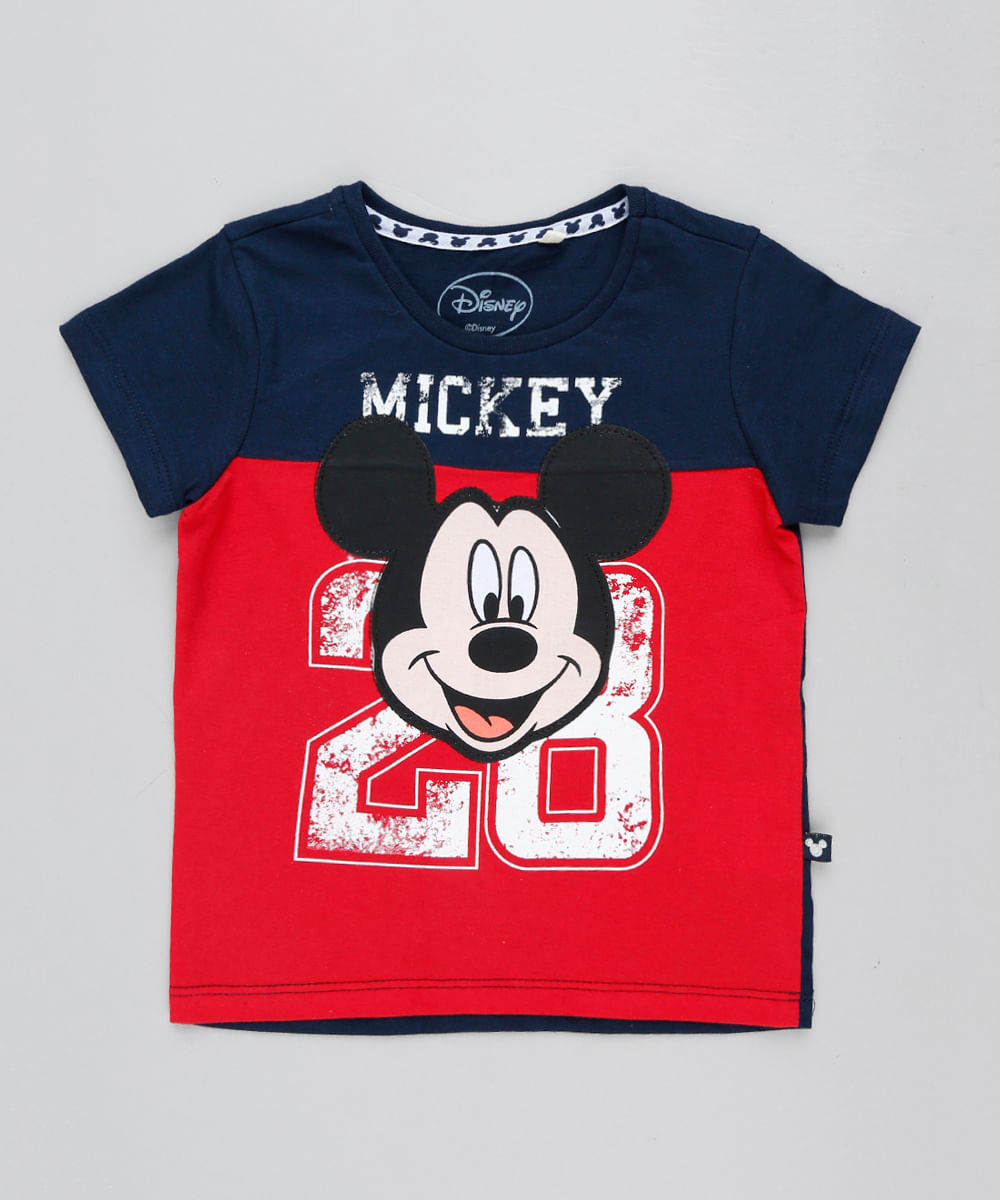 19118571d5 Camiseta Infantil Mickey Manga Curta Gola Careca Azul Marinho - cea