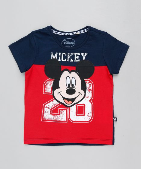 Camiseta Infantil Mickey Manga Curta Gola Careca Azul Marinho - cea 4f7ab80f959e1