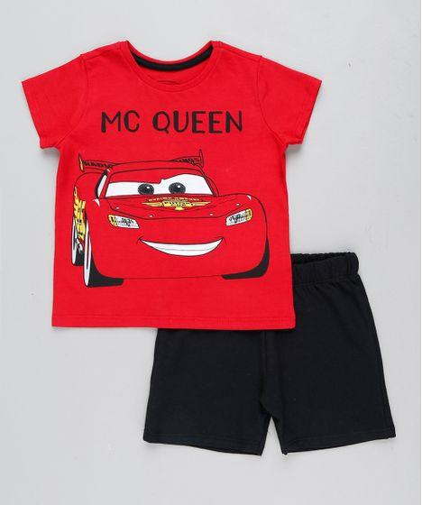 920590f2a4b8a Conjunto Infantil Carros de Camiseta Manga Curta Vermelha + Bermuda ...