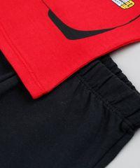 Conjunto Infantil Carros de Camiseta Manga Curta Vermelha + Bermuda ... 478b5af0d8b89
