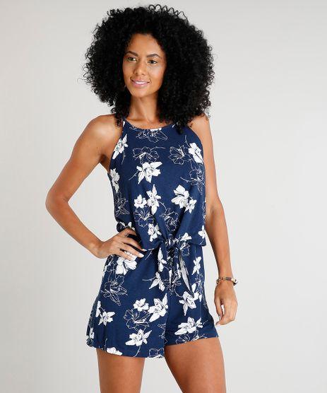 Macaquinho-Feminino-Estampado-Floral-com-No-Alcas-Finas-Decote-Redondo-Azul-Marinho-9310779-Azul_Marinho_1