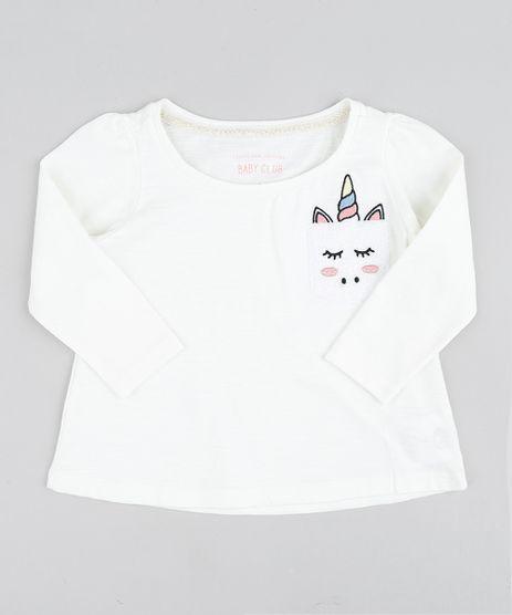 Blusa-Infantil-com-Bolso-de-Unicornio-Manga-Longa-Decote-Redondo-Off-White-9429829-Off_White_1