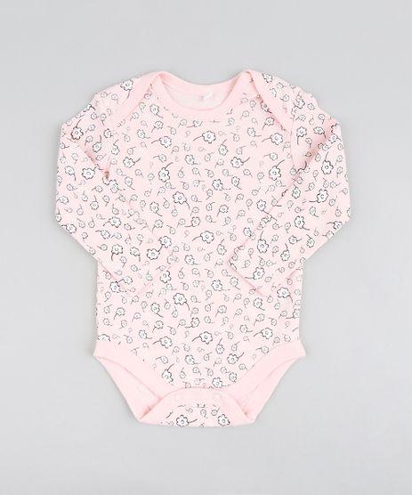 Body-Infantil-Estampado-Floral-Manga-Longa-Rosa-Claro- 3e905e17d09
