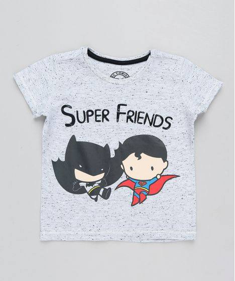 4757e572b Camiseta Infantil Batman e Super Homem Manga Curta Gola Careca Cinza ...