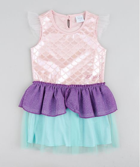 2b506fccd9fe03 Vestido Infantil Carnaval Ariel Pequena Sereia Metalizado com Tule ...