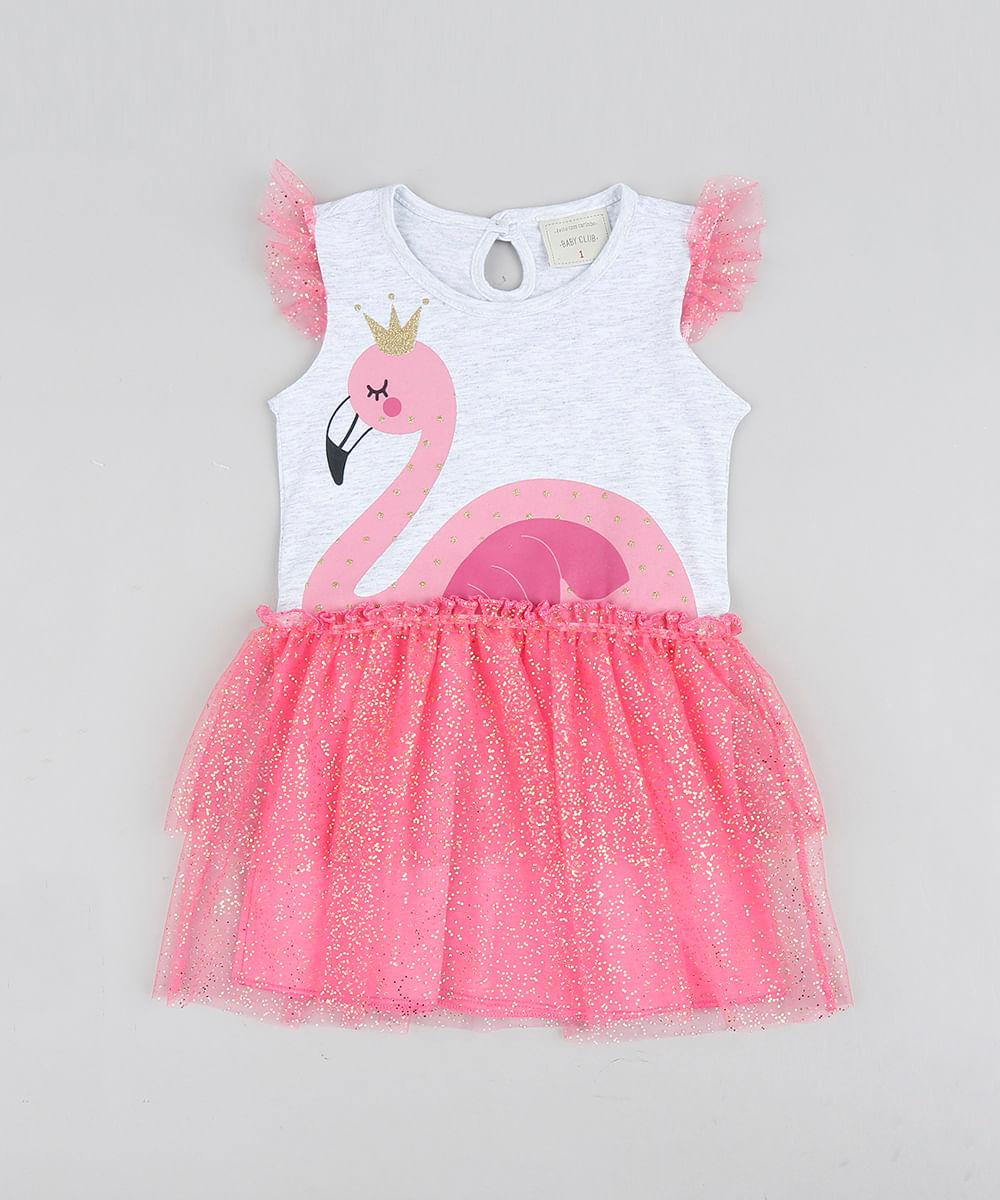 Carnaval Com Mescla Flamingo Infantil Cinza Tule Vestido vN80Omnw