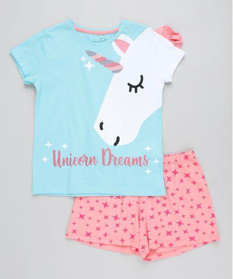 ec2dd4b9a Pijama Infantil Unicórnio com Glitter Manga Curta Azul Claro - cea