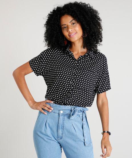 Camisa-Feminina-Estampada-de-Poa-com-Bolso-Manga-Curta-Preta-9439213-Preto_1