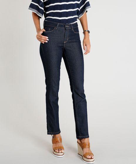48ef94041 Calca-Jeans-Feminina-Reta-Cintura-Media-Azul-Escuro-