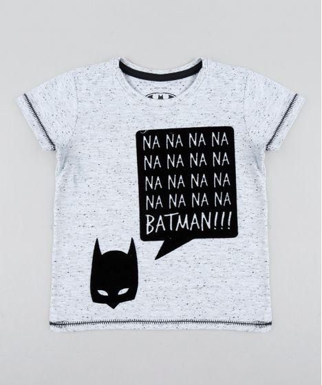 1c36c9f88 Camiseta Infantil Batman Manga Curta Gola Careca Cinza Mescla Claro ...