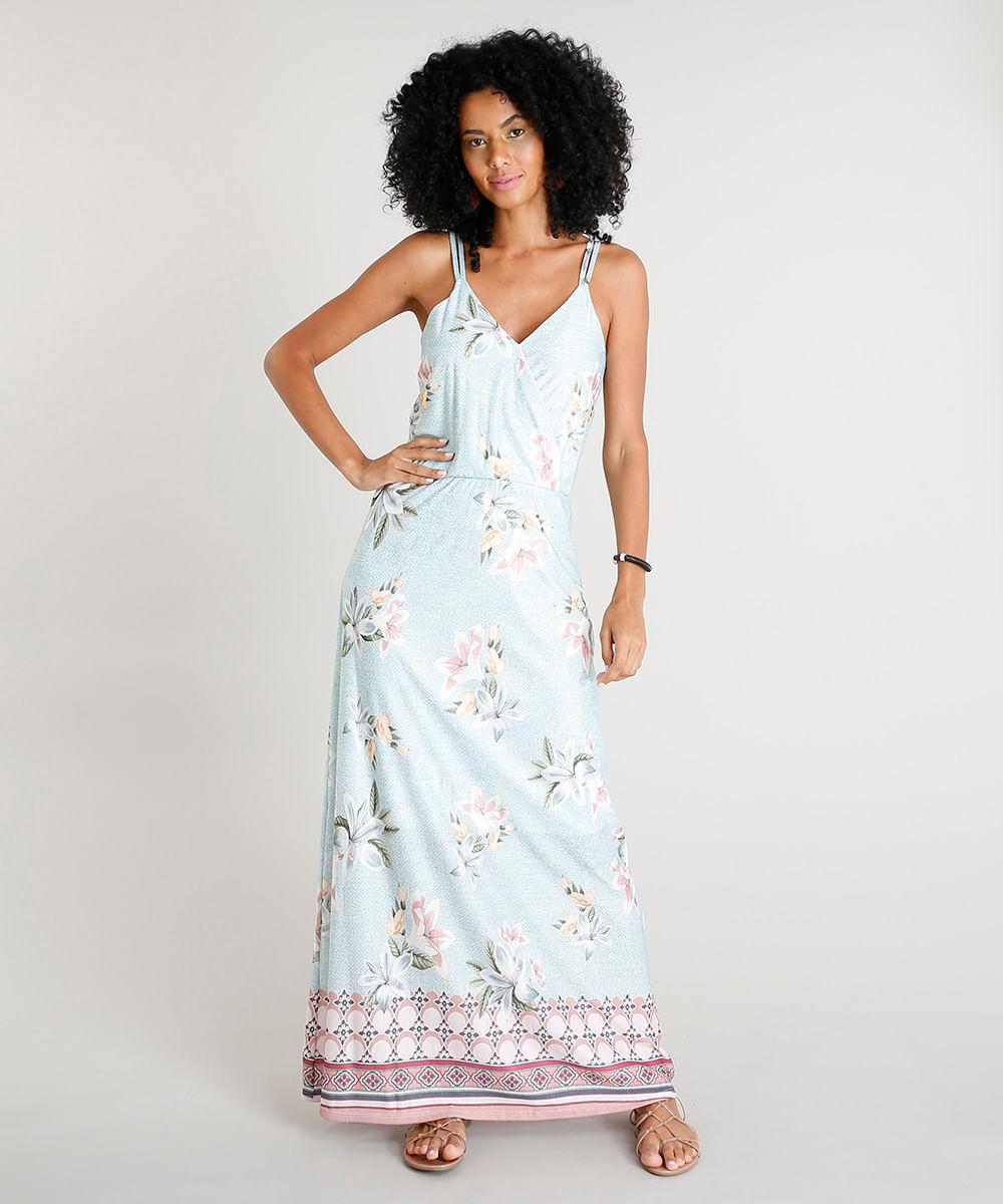 131b9820d Vestido Longo Feminino Estampado Floral com Decote V Alças Finas ...