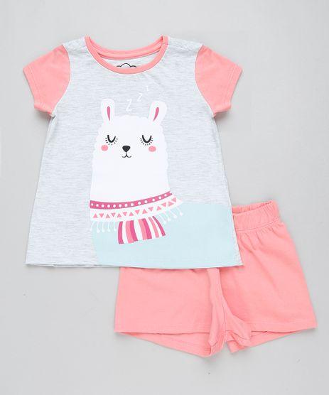 Pijama-Infantil-Lhama-Manga-Curta-Cinza-Mescla-Claro-9416385-Cinza_Mescla_Claro_1