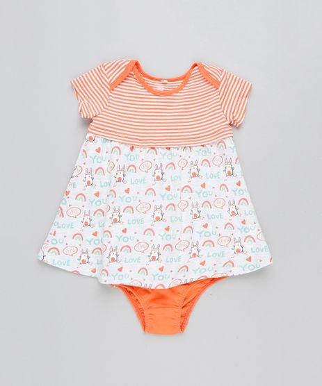 Vestido-Infantil-Estampado-com-Recorte-Manga-Curta---Calcinha-Laranja-9205031-Laranja_1