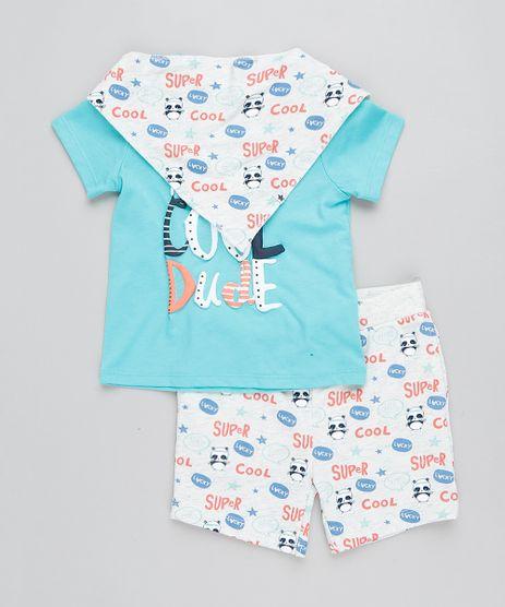 Conjunto-Infantil-de-Camiseta-Manga-Curta-Verde-Agua---Bermuda-Estampada-em-Moletom---Babador-Cinza-Mescla-Claro-9205072-Cinza_Mescla_Claro_1
